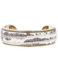 Ferragamo - Leather Cuff Bracelet Gold - Lyst