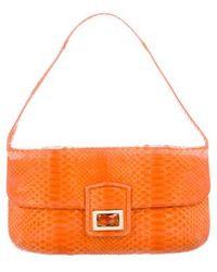 Kara Ross - Python Embellished Shoulder Bag Orange - Lyst