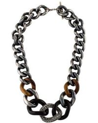 Lanvin - Wood & Crystal Curb Chain Necklace Silver - Lyst