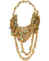 Erickson Beamon - Multistrand Leaf Necklace Gold - Lyst