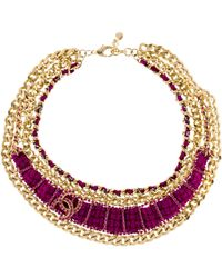 Chanel - Cc Crystal & Tweed Collar Necklace Gold - Lyst