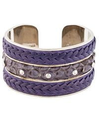 Tod's - Snakeskin & Leather Cuff Silver - Lyst