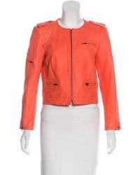 Alice + Olivia - Leather Biker Jacket Orange - Lyst