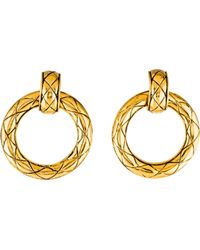 Chanel - Matelassé Drop Earrings Gold - Lyst