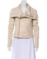 VEDA - Leather Zip-up Jacket Neutrals - Lyst