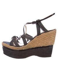 Nina Ricci - Denim Platform Wedge Sandals Denim - Lyst