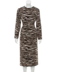 Michael Kors - Zebra Print Midi Dress - Lyst