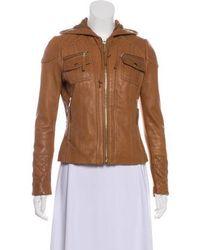 MICHAEL Michael Kors - Michael Kors Leather Quilted Jacket Cognac - Lyst