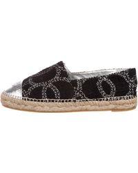 Chanel - Cc Tweed Cap-toe Espadrilles Black - Lyst