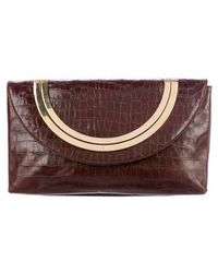 Carolina Herrera - Embossed Leather Convertible Clutch Cognac - Lyst