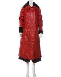 Nicholas K - Leather Shearling Trimmed Coat Orange - Lyst