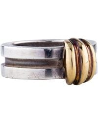 Tiffany & Co. - Two-tone Ribbed Band Yellow - Lyst