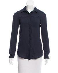 Kimberly Ovitz - Chiffon Button-up Top Navy - Lyst
