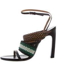 4ad6f084d18 Lyst - Dries Van Noten Leather Ankle Strap Sandals Navy in Blue