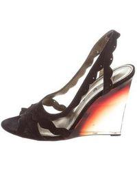 Lanvin - Suede Wedge Sandals - Lyst