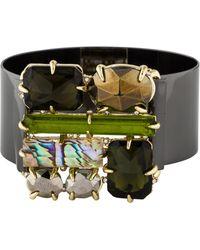 Alexis Bittar - Crystal & Abalone Doublet Bracelet Gold - Lyst