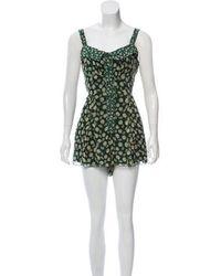 Anna Sui - Printed Silk Romper Green - Lyst