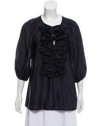 9bb13541 Givenchy - Silk Ruffle-accented Top Navy - Lyst