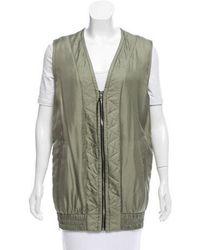 Rag & Bone - Silk Zipper-accented Vest Olive - Lyst