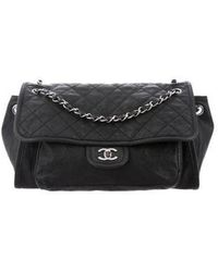 b3fbe7d27d61 Lyst - Chanel Vintage Medium Classic Double Flap Black in Metallic