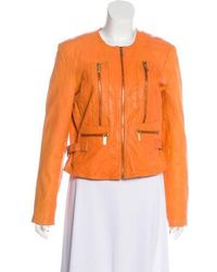 MICHAEL Michael Kors - Michael Kors Leather Structured Jacket Orange - Lyst