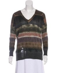 Raquel Allegra - Distressed V-neck Sweater - Lyst