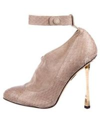 Brian Atwood - Embossed Leather Suede Ankle Boots Grey - Lyst