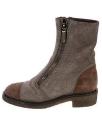 Chanel - Cc Suede Ankle Boots Grey - Lyst