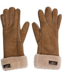 UGG - Suede Shearling-trimmed Gloves Tan - Lyst