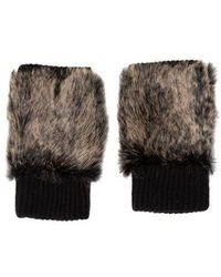 Adrienne Landau - Fur-trimmed Wool Gloves - Lyst