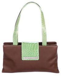 BVLGARI - Crocodile-trimmed Leather Shoulder Bag Silver - Lyst
