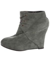 Opening Ceremony - Suede Wedge Booties Grey - Lyst