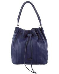 Karen Millen - Leather Drawstring Bag Blue - Lyst