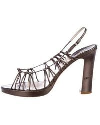 331e3e4f24c Lyst - Dior Embellished Woven Sandals Black in Metallic