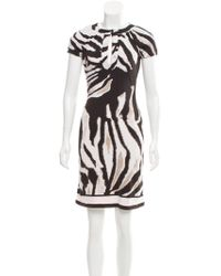 Roberto Cavalli - Zebra Print Knee-length Dress Black - Lyst