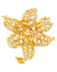 Kenneth Jay Lane - Crystal Lily Brooch Gold - Lyst