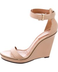 Givenchy - Leather Wedges Sandals Tan - Lyst