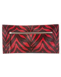 Tamara Mellon - Fever Animal Print Ponyhair Clutch Red - Lyst