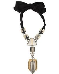 Lanvin - Statement Deco-style Crystal Necklace Gold - Lyst