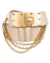 Donna Karan - Embellished Leather Belt Tan - Lyst