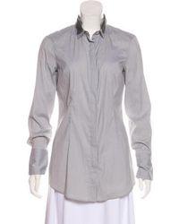 Brunello Cucinelli - Silk Button-up Top Grey - Lyst