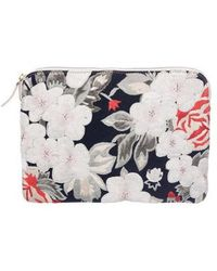 Lizzie Fortunato - Leather & Floral Embroidered Canvas Clutch Blue - Lyst