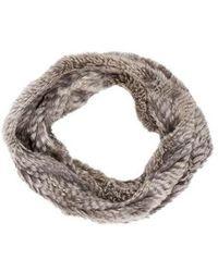 Adrienne Landau - Fur Infinity Scarf Grey - Lyst