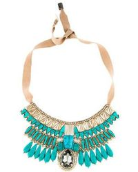 Matthew Williamson - Bejeweled Crystal & Resin Collar Necklace Tan - Lyst