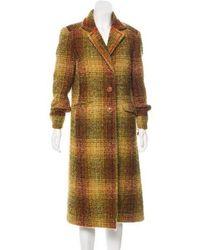 Etro - Long Wool Coat Orange - Lyst