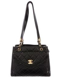 06dab54ddb57 Lyst - Chanel Quilted Lambskin Frame Bag Black in Metallic