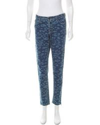 Lanvin - Printed Mid-rise Jeans - Lyst