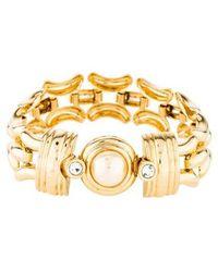 Kenneth Jay Lane - Faux Pearl & Crystal Link Bracelet Gold - Lyst