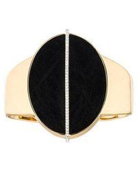 Rachel Zoe - Leather Oval & Rhinestone Cuff Gold - Lyst