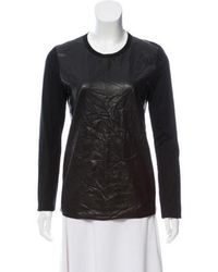 Reed Krakoff - Leather Contrast Long Sleeve Top - Lyst